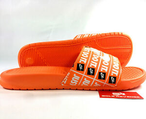 New-NIKE-BENASSI-JDI-SLIDE-MEN-039-S-JUST-DO-IT-Print-Orange-Sandals-631261-800-c1