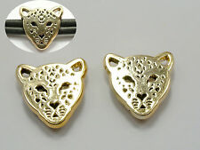 50 Gold Tone Acrylic Leopard Head Belt Slider Bead Charm 22mm Fit 10mm Wristband