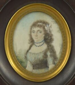 Miniature-ancienne-Portrait-de-dame-de-qualite-debut-19eme