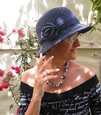 Damenhut eleganter Strohhut  in Blau/Tintenblau  Anlasshüte Strohhüte  Damenhüte