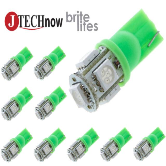 Jtech 10x T10 5 SMD LED Green Super Bright Car Lights Bulb W5W, 194, 168, 2825