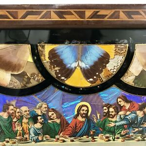 RIO-DE-JANEIRO-VTG-1940-039-s-Butterfly-Wing-Inlay-Wood-Tray-The-Last-Supper