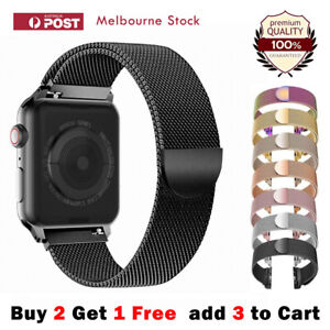 For Apple Watch Band Series 6 5 4 321 SE Magnetic Stainless Steel Milanese Strap