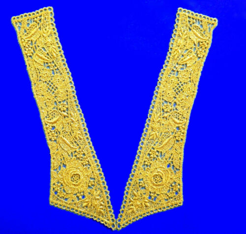 "MEDALLION RAYON TRIM  11/""x3 1521G 2 VINTAGE VENISE LACE METALLIC GOLD APPLIQUE"