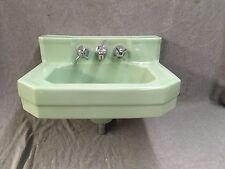 Vtg Mid Century Jadeite Green Porcelain Wall Mount Shelf Back Sink Eljer 249-17E