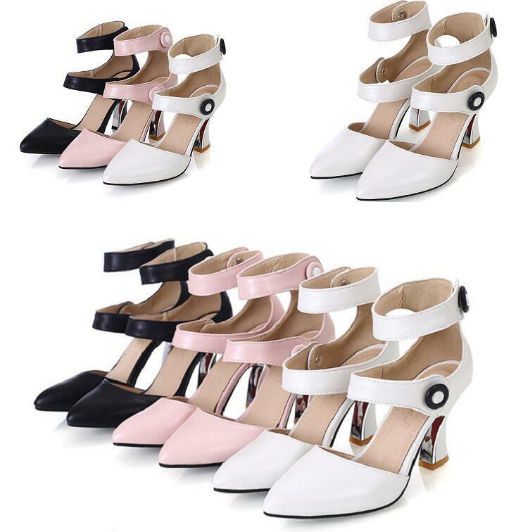 Occident double-breasted ankle strappy women's low block heels hollow plus size