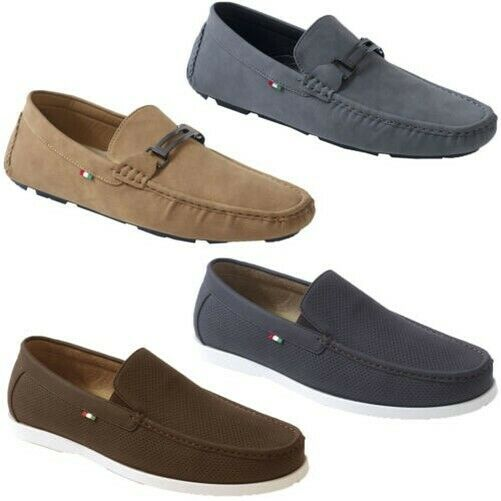 Mens shoes D555 Duke Boat Driving King Size Slip On Union Casual PU Oakland New