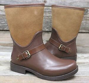 5e9cd04ca4e Details about UGG Australia Womens Sivada Chocolate Suede Rubber Classic  Rain Boots US 10 NEW!