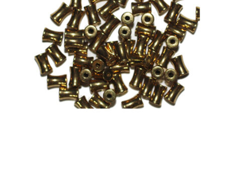 6mm Dogbone Goldtone Old Gold Metalized Metallic Beads