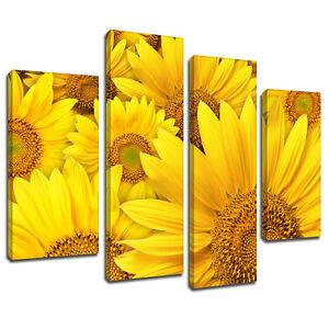 MFL502-Yellow-Sunflower-Floral-Canvas-Wall-Art-Multi-Panel-Split-Picture-Print