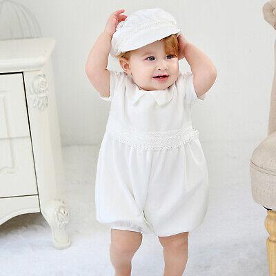 Cinda Boys Satin Christening Romper Set with Hat Scarf Shoes 0 3 6 9 12 Months