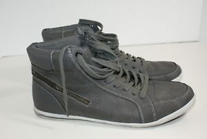 Parker-amp-Sky-Men-039-s-Size-9-5-Gray-Perforated-Leather-High-Top-Boots