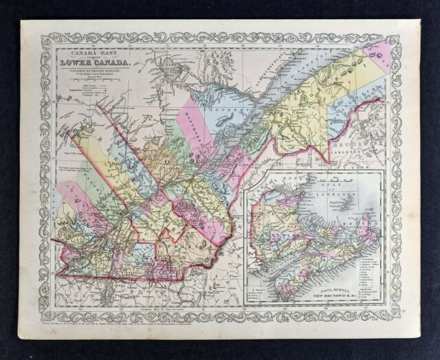 Map Of Canada Quebec Montreal.1857 Desilver Map Lower Canada Quebec Montreal Nova Scotia New