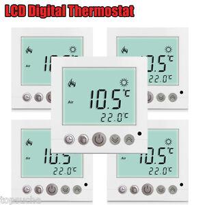 5x digital thermostat raumthermostat weiss programmierbar fu bodenheizung 16a 657419502986 ebay. Black Bedroom Furniture Sets. Home Design Ideas