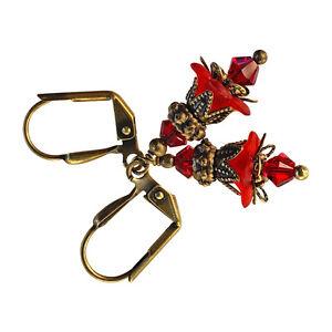 Crystal-Dangle-Vintage-Lucite-Flower-Antique-Gold-Bronze-Earrings