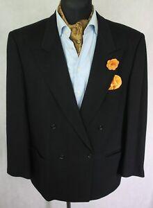 Hombre-vintage-Hugo-Boss-Pecho-Doble-Negro-de-LANA-de-casimir-Blazer-EUR-52-UK-42