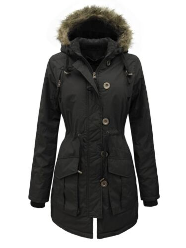 NEW LADIES WOMENS MILITARY PARKA JACKET PADDED FUR HOODED COAT SIZES 8-16