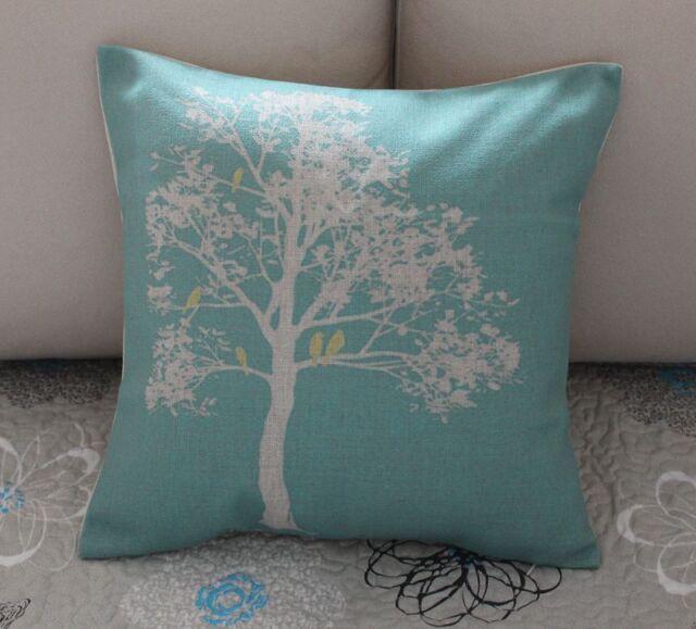 Turquoise Love Bird Tree Cotton Linen Cushion Cover Throw Pillow Home Decor B427