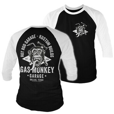 Officially Licensed Gas Monkey Garage Texas Baseball 3//4 Sleeve T-Shirt Dallas