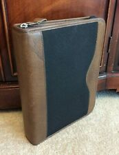 Classic 15 Franklin Quest Green Line Brown Leather Black Zip Planner Binder