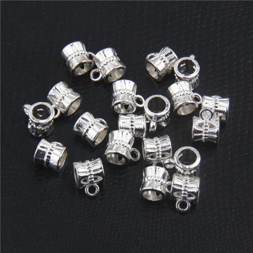 100pcs Vintage Tibetan Silver Connectors Bails fit charm bead For DIY bracelet