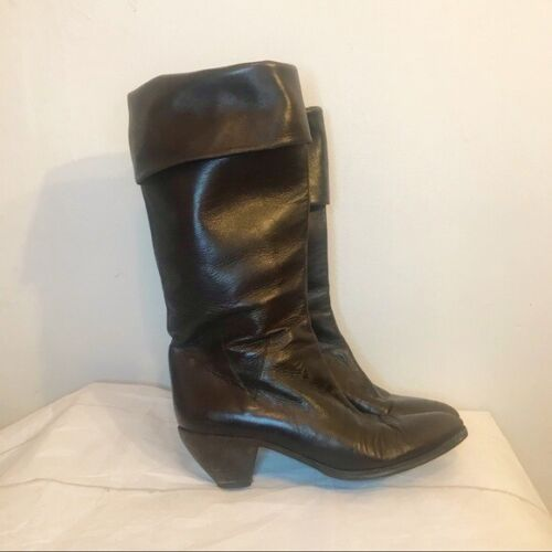 Maud Frizon Leather Dark Brown Slouch Boots