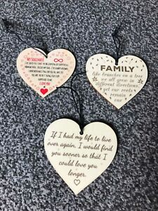 Details about Wooden Heart Soulmate Family Love Gift Sign Plaques