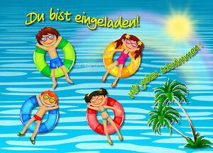 Das Bild Wird Geladen 8 Einladungskarten Schwimmbad Geburtstag Kinder  Kindergeburtstag Einladungen
