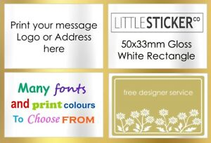 personalised wedding labels custom printed rectangle WHITE LARGE stickers x100