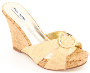 68282bdfed New STEVE MADDEN Women Natural Cork Raffia Comfort Platform Wedge ...