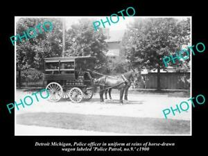 OLD-LARGE-HISTORIC-PHOTO-OF-DETROIT-MICHIGAN-THE-DETROIT-POLICE-WAGON-No9-c1900