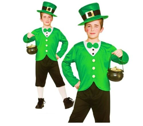Boys FUNNY LEPRECHAUN St Patricks Lucky Irish Fancy Dress Child Costume Age 5-10