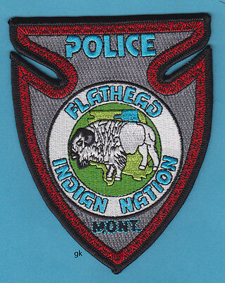 FLATHEAD INDIAN NATION MONTANA TRIBAL POLICE SHOULDER PATCH  (Arrowhead Buffalo)