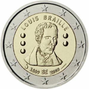 """2 euro commémorative Belgique 2009 """" Braille """"  NEUVE UNC"""