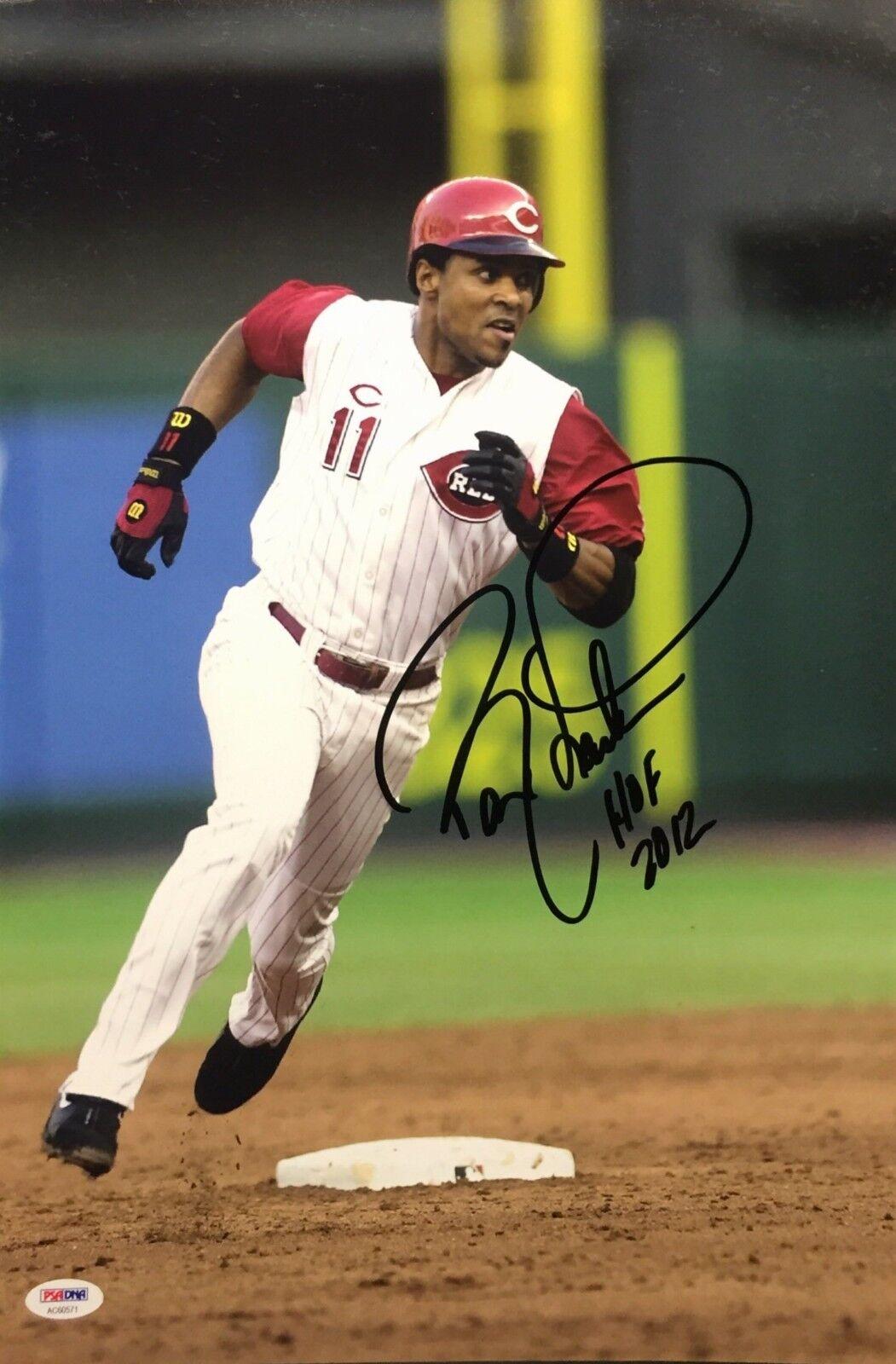Barry Larkin Signed Reds Baseball 12x18 Photo *Reds