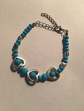 New Tibet silver AND TURQUOISE beadS WITH HEARTS BRACELET-B409