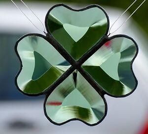 Bleiverglasung-Facetten-Suncatcher-Fensterbild-Gluecksklee-gruen-in-Tiffany