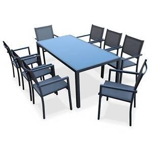 Salon de jardin aluminium table 180cm, 8 fauteuils en textilène gris ...