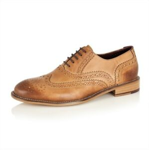 London-Brogues-Gatsby-Tan-Lace-Up-Brogues-Mens-Leather-Shoes-Sizes-7-to-15