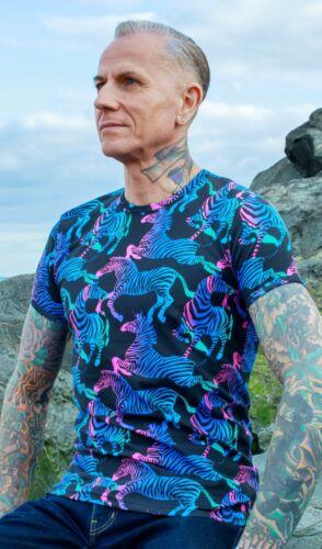 Rainbow Zebra Print T Shirt by Run and Fly Unisex XS-XXL Multi Coloured