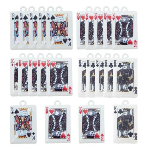 Alliage 10pcs blanc mixte Poker King K 26x15mm Pendentif Charms Bijoux Accessoires