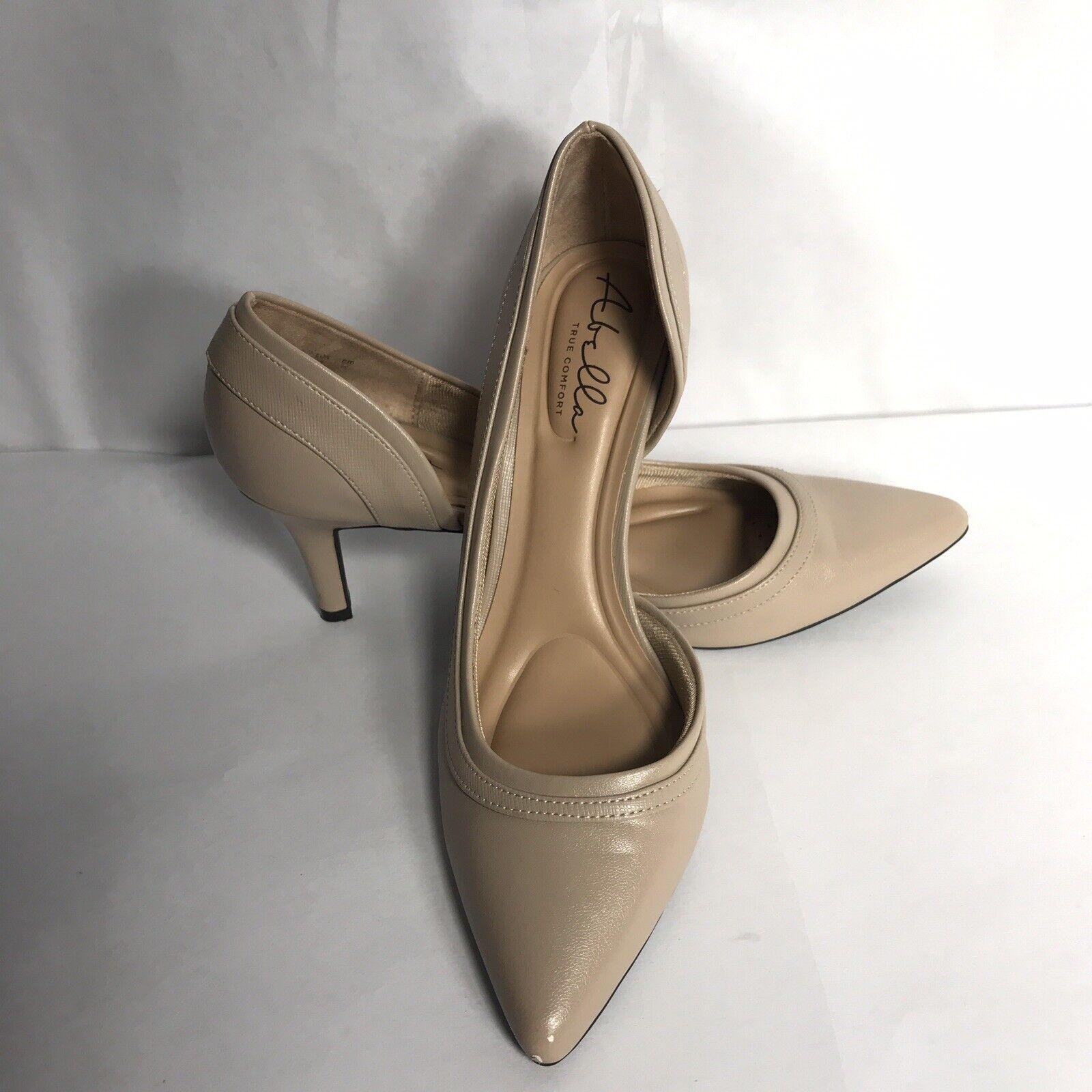 "abella true comfort 9M beige natural pumps pointed toe 3"" heel slip on women's"