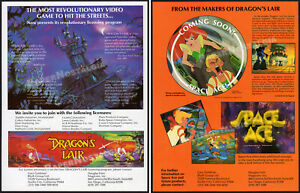 DRAGON'S LAIR_/_SPACE ACE__Orig. 1984 Trade AD / 2-sided Lic. promo__DON BLUTH