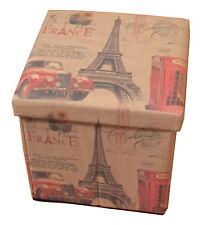 Designer Francia Parigi sede unica SGABELLO PIEGHEVOLE IN TESSUTO OTTOMANO storeage BOX