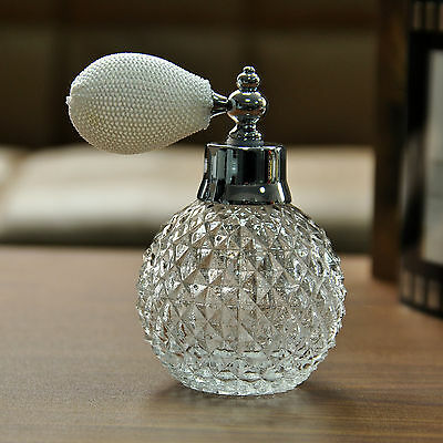 Vintage Empty Clear Glass Perfume Bottle White Spray Atomizer Lady Wedding Gift