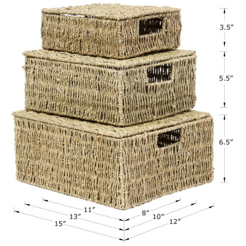 Set of 3 Sizes Multi-Purpose Square Seagrass Woven Storage Basket with Lids