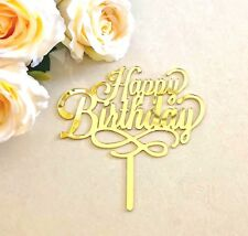 Happy Birthday Acrylic Gold Mirror Party Cake Topper Decorations