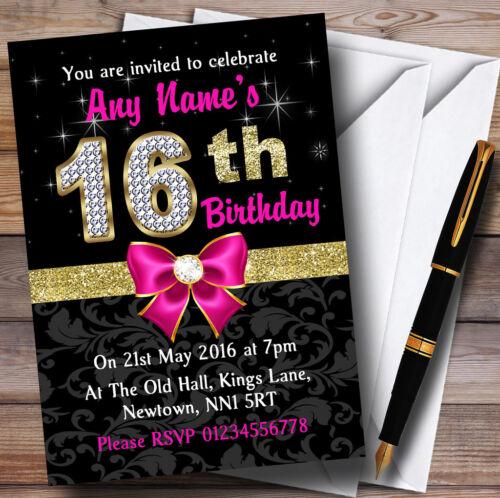 Rose Noir Or Diamants 16ème Fête D/'Anniversaire invitations personnalisées