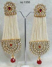 Indian Pearl Gold Plated Meena Kundan Minakari Earrings Polki Wedding Jewelry1