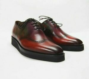 Chaussures-Hommes-Bout-D-039-Aile-Derbies-wholecut-Bespoke-Handmade-patine-cuir-veau